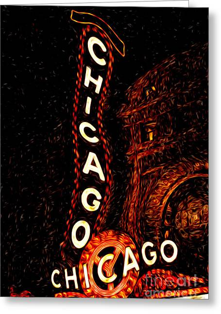 Chicago Theatre Sign At Night Digital Painting Greeting Card by Paul Velgos