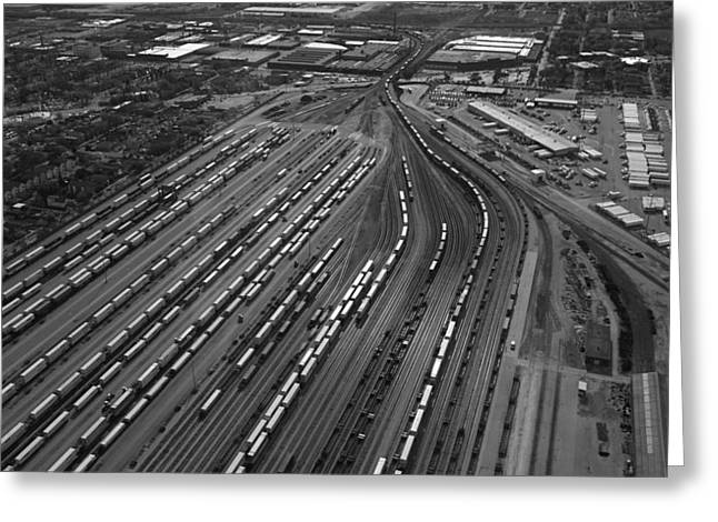 Chicago Transportation 02 Black And White Greeting Card by Thomas Woolworth