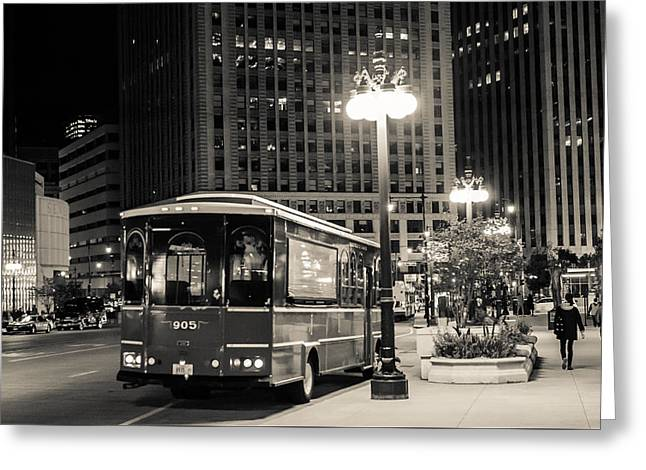 Chicago Trolly Stop Greeting Card