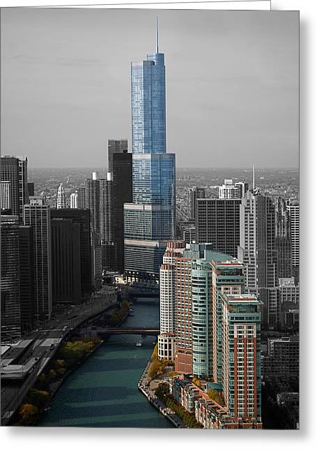 Chicago Trump Tower Blue Selective Coloring Greeting Card by Thomas Woolworth