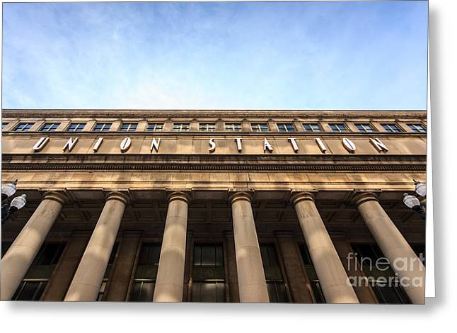 Chicago Union Station Sign And Building Columns Greeting Card by Paul Velgos