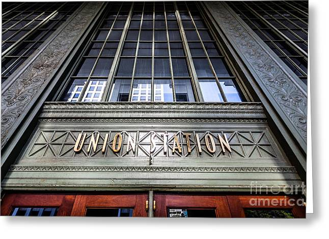 Chicago Union Station Sign And Entrance Greeting Card by Paul Velgos