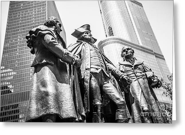 Chicago Washington Morris Salomon Statue Black And White Picture Greeting Card