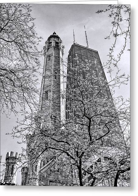 Chicago Water And Hancock Towers Black And White Greeting Card