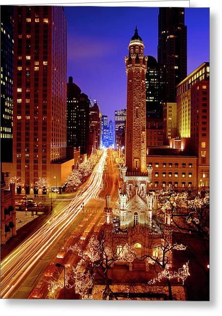 Chicago Water Tower At Night, Michigan Greeting Card