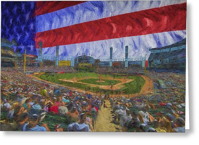 Chicago White Sox Us Cellular Field Flag Digitally Painted  Greeting Card