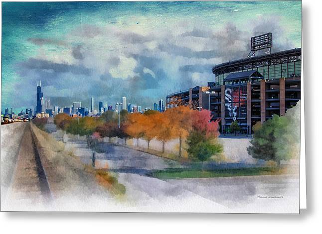 Chicago White Sox Us Cellular Field Mixed Media 01 Textured Sky Greeting Card by Thomas Woolworth