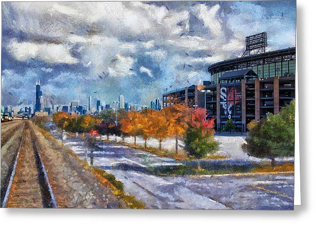 Chicago White Sox Us Cellular Field Mixed Media 02 Greeting Card by Thomas Woolworth