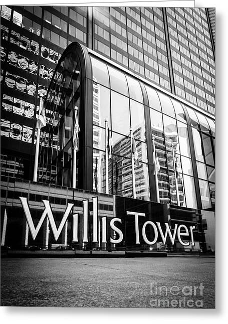 Chicago Willis Tower Sign In Black And White Greeting Card