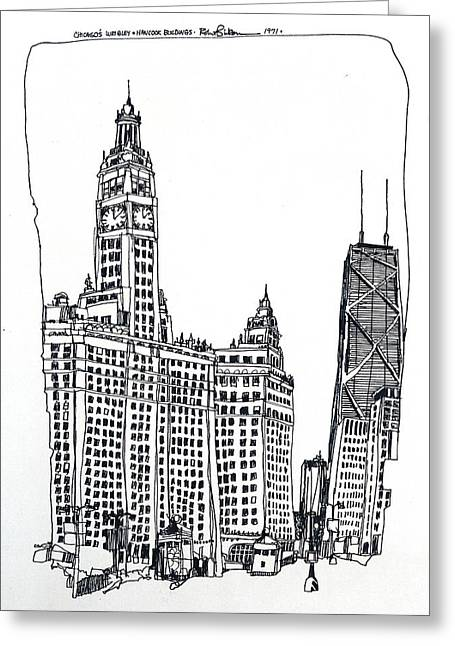 Chicago Wrigley And Hancock Buildings Greeting Card