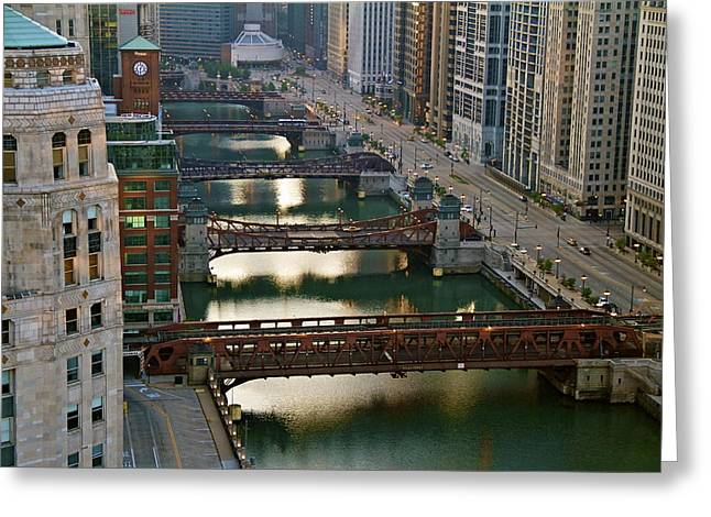 Greeting Card featuring the photograph Chicago's Bridges @ Sunrise by John Babis