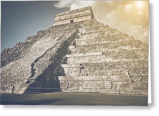 Chichen Itza Ruins In Retro Instagram Style Filter Greeting Card by Brandon Bourdages