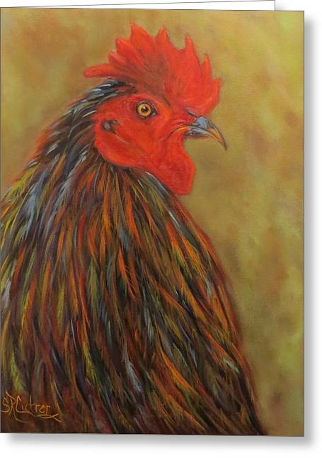 Chick Magnet, Rooster  Greeting Card by Sandra Cutrer
