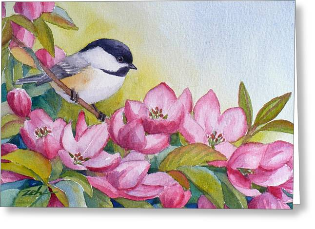 Chickadee And Crabapple Flowers Greeting Card by Janet  Zeh