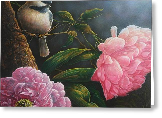 Chickadee And Peonies Greeting Card by Ron Decker