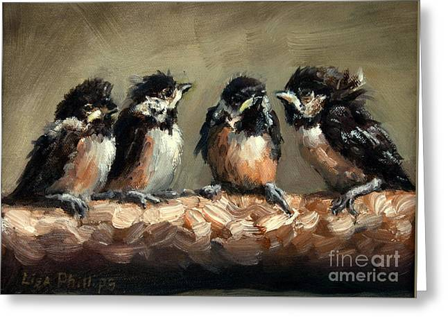 Chickadee Chicks Greeting Card by Lisa Phillips Owens