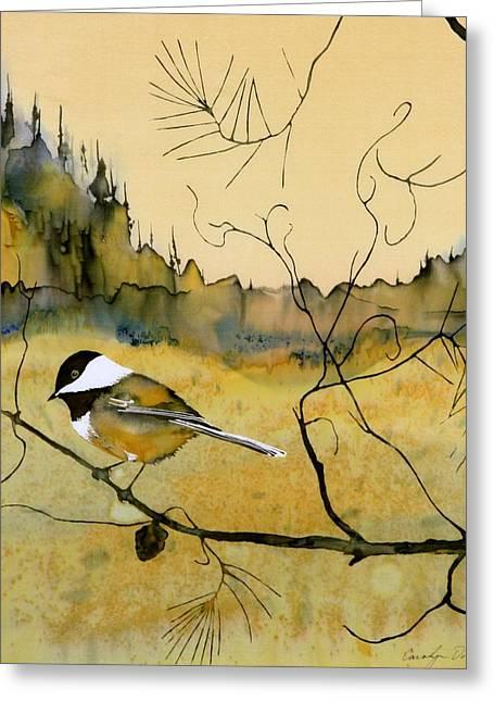 Chickadee In Dancing Pine Greeting Card