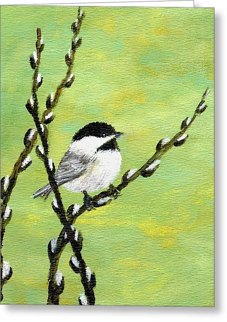 Chickadee On Pussy Willow - Bird 1 Greeting Card by Kathleen McDermott