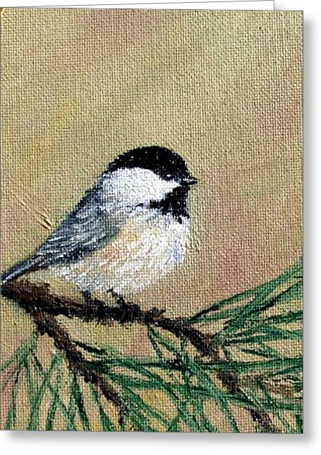 Chickadee Set 17 Bird 1 Detail Print Greeting Card by Kathleen McDermott