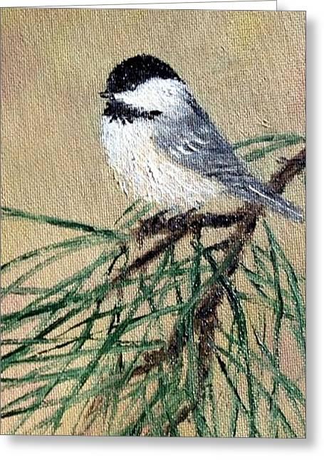 Chickadee Set 17 Bird 2 Detail Print Greeting Card by Kathleen McDermott