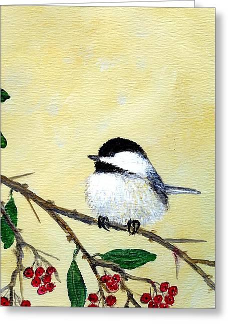 Chickadee Set 4 - Bird 2 - Red Berries Greeting Card by Kathleen McDermott