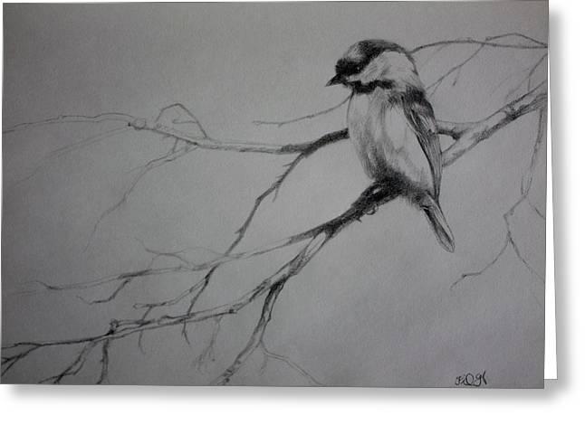 Chickadee Sketch Greeting Card by Derrick Higgins