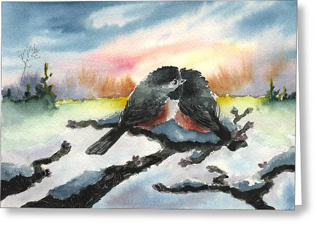Greeting Card featuring the painting Chickadee Sunset Snuggle by Sean Seal