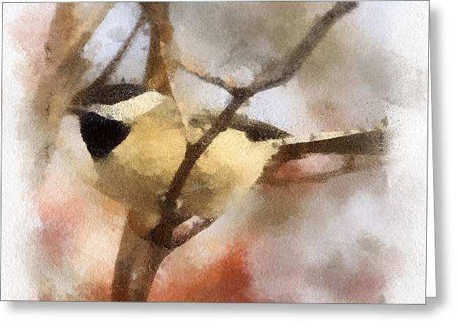 Greeting Card featuring the painting Chickadee Watercolor by Kerri Farley