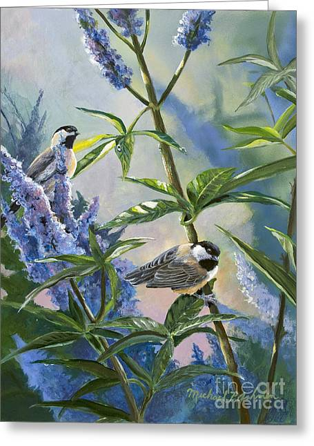 Chickadees And Lilac Greeting Card by Michael Ashmen