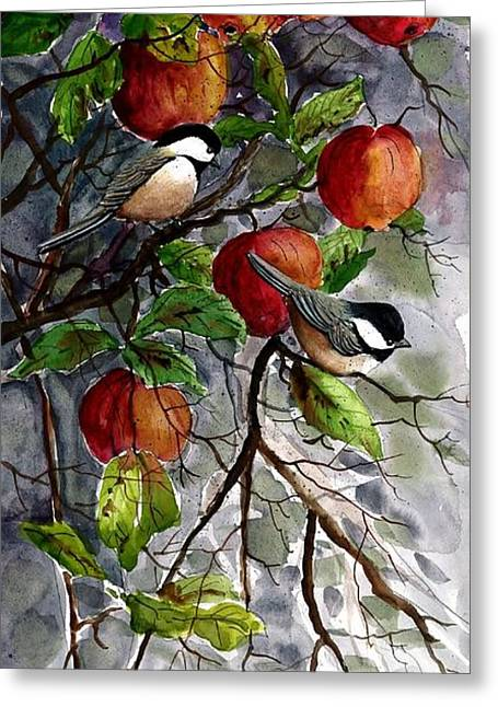 Chickadees Apple Tree Greeting Card by Steven Schultz