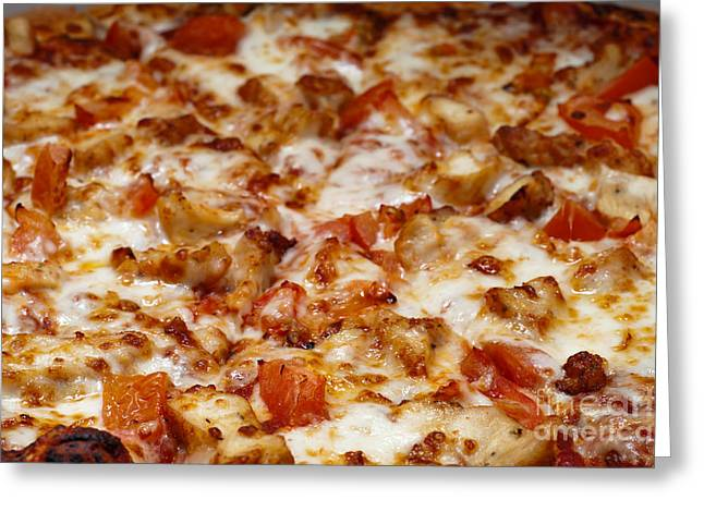 Chicken And Diced Tomato Pizza 2 Greeting Card