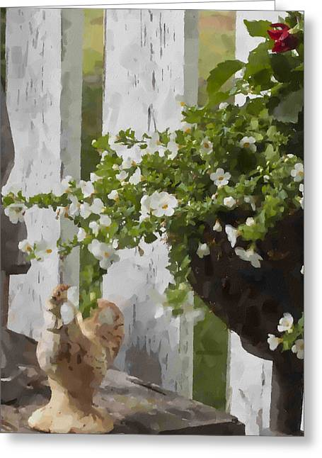 Chicken And Garden Urn  Greeting Card by Sandra Foster