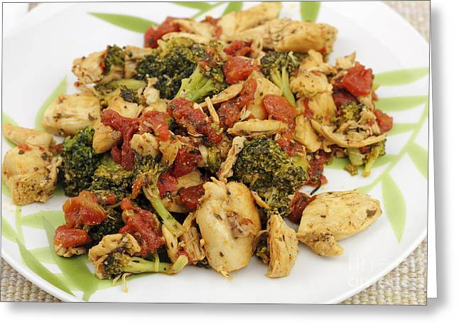 Chicken Broccoli And Tomatoes Dinner Greeting Card by Lee Serenethos