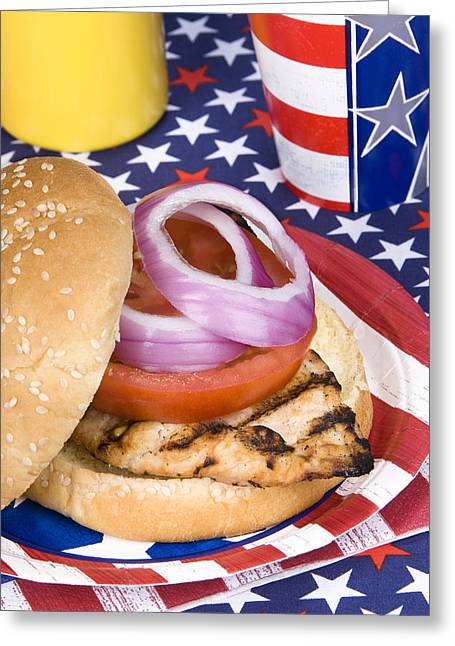 Chicken Burger On Fourth Of July Greeting Card by Joe Belanger