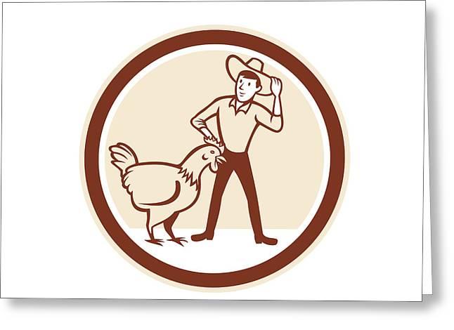 Chicken Farmer Feeder Circle Cartoon Greeting Card