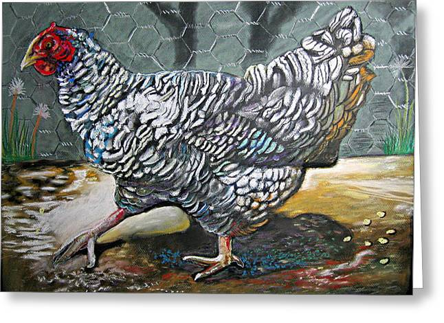 Chicken In The Pen Greeting Card