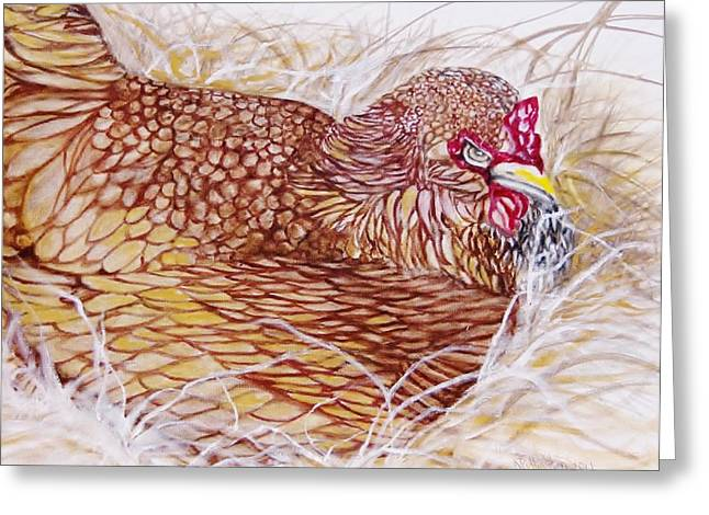 Chicken Laying Egg Greeting Card