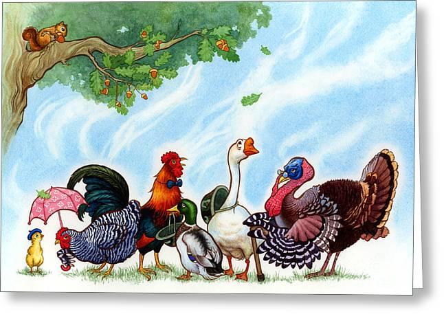 Chicken Licken Greeting Card by Isabella Kung