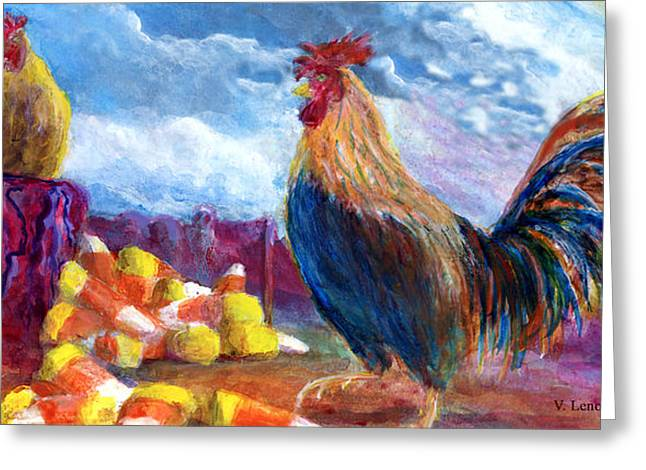Greeting Card featuring the painting Chickens And Candy Corn by Lenora  De Lude