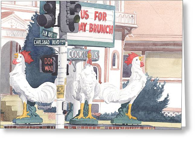 Chickens At Twin Inns Carlsbad Greeting Card by Mary Helmreich