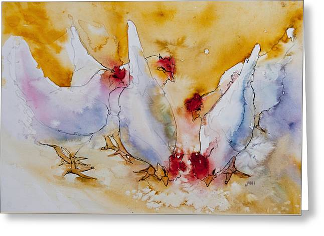 Chickens Feed Greeting Card by Jani Freimann