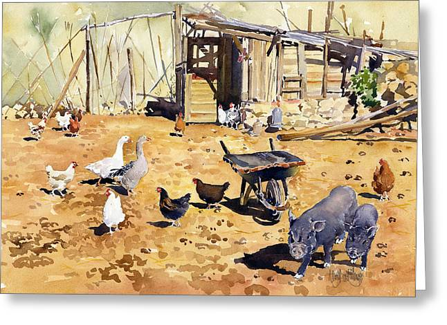 Chickens Geese And Little Pigs Greeting Card by Margaret Merry