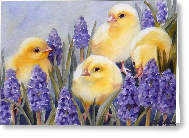 Chicks Among The Hyacinth Greeting Card