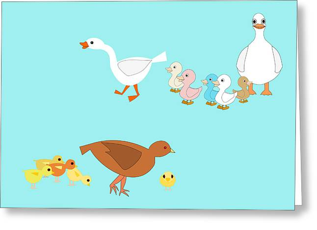 Chicks And Ducks Greeting Card