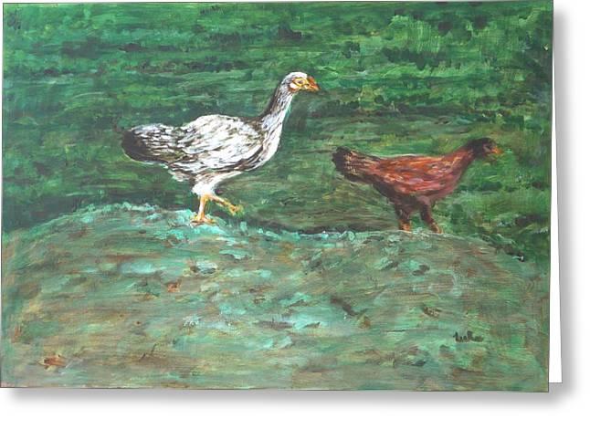 Chicks Greeting Card by Usha Shantharam