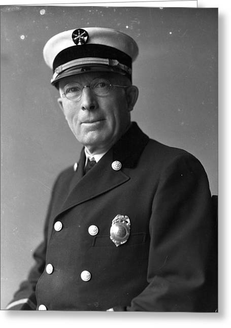 Chief John C. Mcdonnell Century Of Progress Fire Department Chicago  Greeting Card by Retro Images Archive