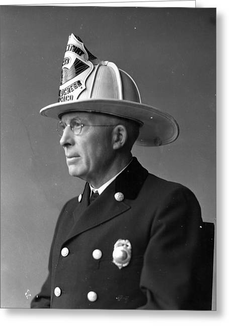 Chief John C. Mcdonnell Century Of Progress Fireman Chicago Greeting Card by Retro Images Archive