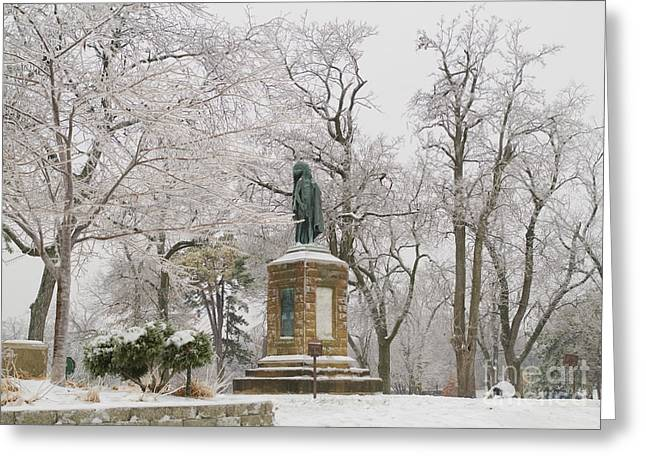 Chief Keokuk Statue In Ice Storm Greeting Card