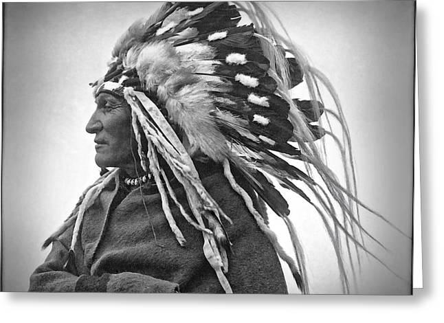Chief Lazy Boy - 1918 Greeting Card by Daniel Hagerman