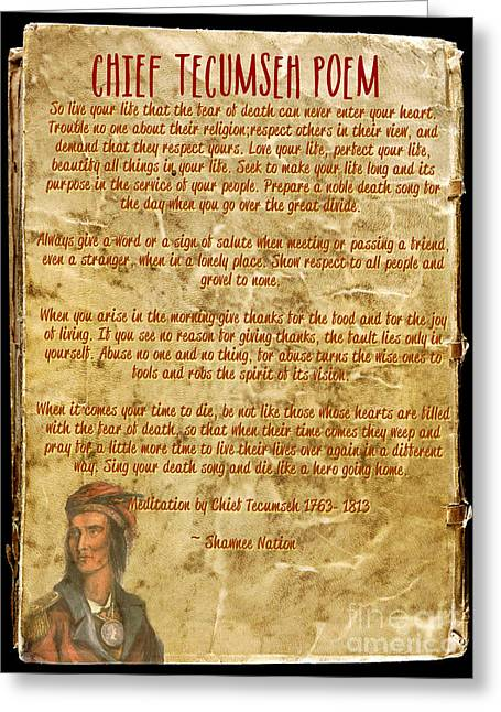 Chief Tecumseh Poem - Live Your Life Greeting Card